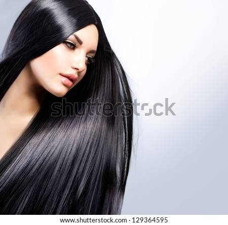 Hair. Beautiful Brunette Girl. Healthy Long Hair. Beauty Model Woman. Hairstyle #129364595