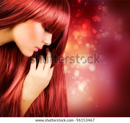 Hair.Beautiful Girl with Healthy Long Straight Hair