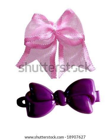 hair clip and bow isolated on white background - stock photo