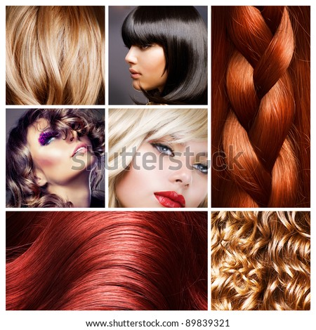 Hair Collage. Hairstyles - stock photo