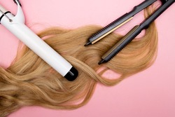Hair curling, styling and hairstyles for blond curls. Curling iron. Volumizing fine hair. Hairdresser tools.