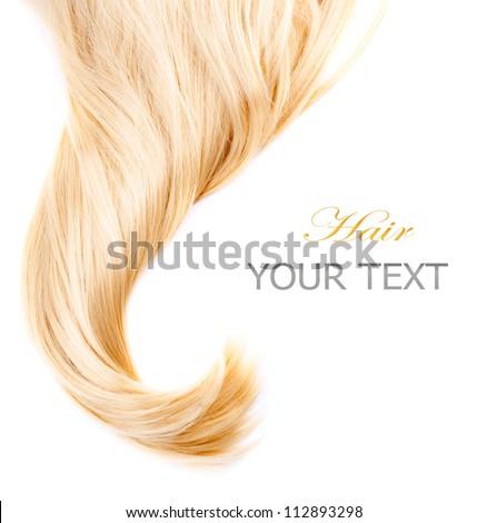 Hair.Healthy Blond Hair isolated on white.Blonde Hair closeup