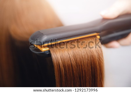 Hair iron straightening beauty care salon spa. #1292173996