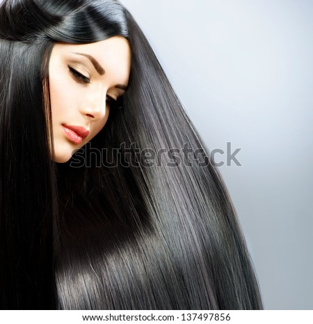 Hair. Long Straight Hair. Beautiful Brunette Girl. Healthy Black Hair. Beauty Model Woman. Hairstyle