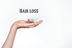 Hair loss. A female hand holds a bunch of fallen hair. Copy space. White background. Concept of alopecia and hair care