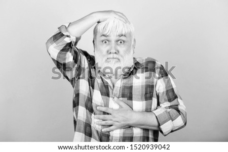 Hair loss. Early signs balding. Man losing hair. Artificial hair. Health care concept. Elderly people. Bearded grandfather grey hair. Male pattern baldness genetic condition caused by variety factors.