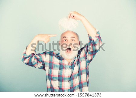 Hair loss. Early signs balding. Man losing hair. Artificial hair. Health care concept. Male pattern baldness genetic condition caused by variety factors. Elderly people. Bearded grandfather grey hair.