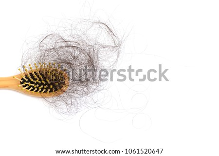 Hair loss, hair fall everyday serious problem, on white background.
