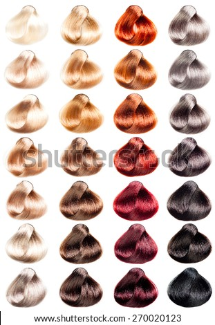 Hair Palette samples of different colors. Tints set.