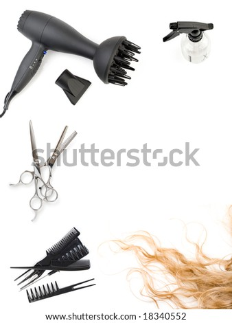 FlashMint 2030 Hair styling salon flash template hair salon frame: set of combs, scissors and hairdryer, hairstyle