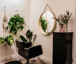 Hair Salon Suite with Modern Decor and plants.