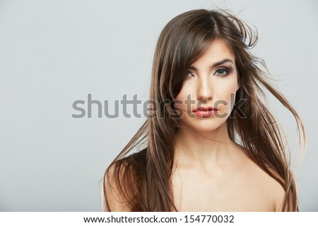 Hair style woman portrait. Female model isolated on white background. Hair in motion. #154770032