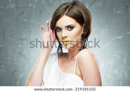 Hair style woman portrait. Female model  with bob hair style.