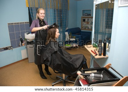 stock photo : Hair styling in a beauty salon