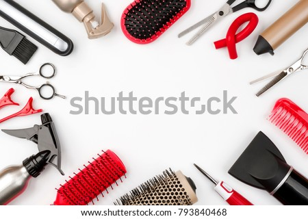Hair tools isolated on white background, beauty and hairdressing concept