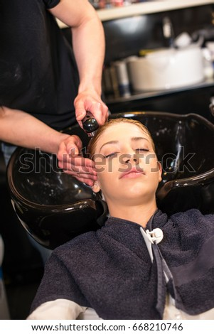 Hair treatment in saloon #668210746