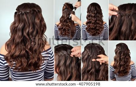 hairdo ��ascade braid on curly hair tutorial. Hairstyle for long hair. Sea style
