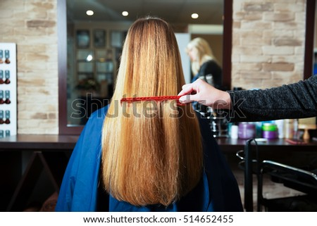 Hairdresser combs long hair of young woman.