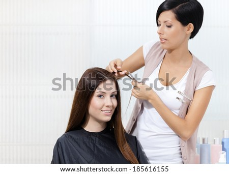 Hairdresser cuts hair of woman in hairdresser\'s. Concept of fashion and beauty