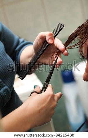 hairdresser cutting woman hair indoor