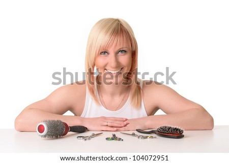 Hairdresser with working tools.