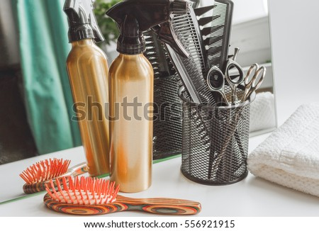hairdresser working desk preparation for cutting hair