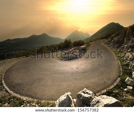 hairpin mountain road to the Lovcen National Park, Montenegro