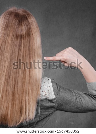 Hairstyle and hairdo. Haircare concept. Back view of blonde woman showing straight long hair. Hairstylist barber with smooth coiffure.