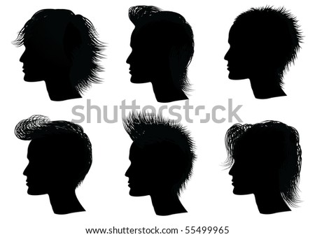stock photo : Hairstyle .Black silhouettes of man with haircuts.