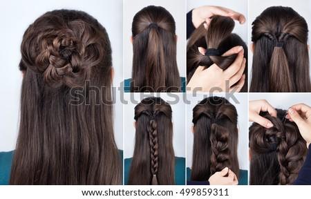 hairstyle braided rose tutorial  step by step. Hairstyle for long hair. Simple hairstyle for long and medium loose hair tutorial. Braided hairstyle. Hair tutorial
