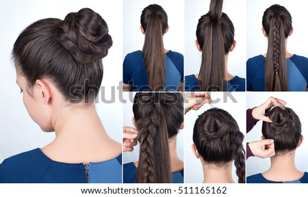 simple hair style design royalty free hairstyle braided tutorial step 5039