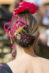 Hairstyle typical of Spain, for the traditional costume