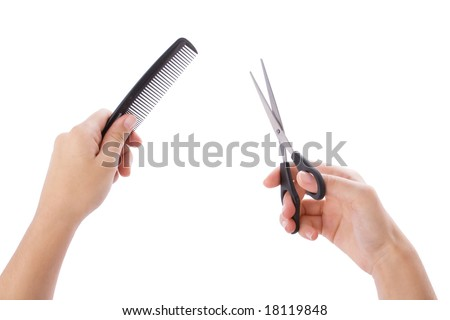 Hairstylist hands isolated on a white background