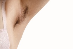 hairy armpit, isolated on white background, close-up, unshaven,  a lot of hair on armpit