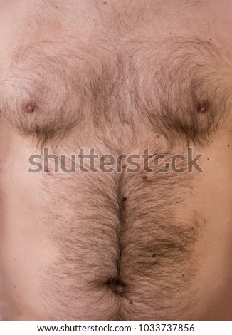 hairy body of a man, stomach and chest, excessive hairiness, depilation, moles, overweight navel