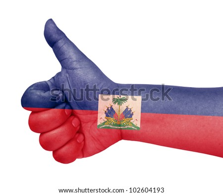 Haiti flag on thumb up gesture like icon