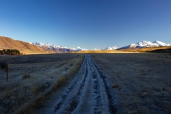 Hakatere Conservation Park. Walk around Lake Clearwater. In Ashburton Lakes area in Canterbury, New Zealand