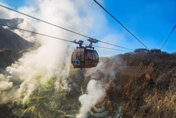 Hakone Ropeway at Owakudani Volcanic Valley with sulfur vents and hot springs in Hakone is a popular tourist destination near Japan's Tokyo.
