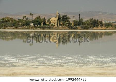 Hala Sultan Tekke mosquee on the salt lake of Larnaca in Cyprus Stok fotoğraf ©