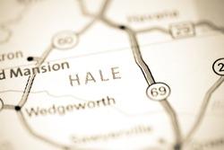 Hale. Alabama. USA on a map
