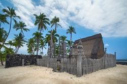 Hale o Keawe. Pu'uhonua O Hōnaunau National Historical Park. Big Island Hawaii