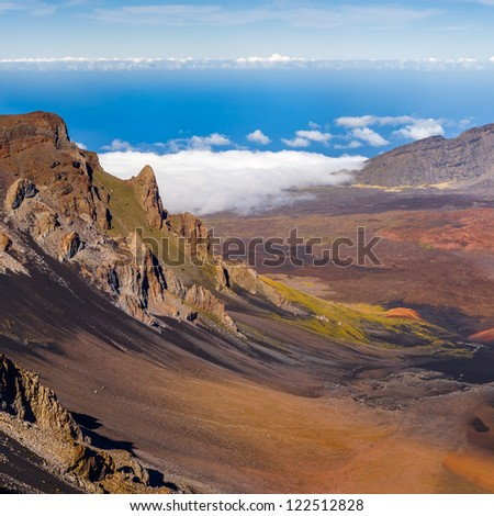 Haleakala crater on top of the volcano, Maui, Hawaii. Very high resolution panorama.
