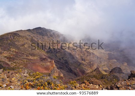 Haleakala Volcano and Crater Maui Hawaii showing surrealistic surface with mountains, lava tubes, rocks