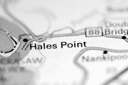 Hales Point. Tennessee. USA on a geography map