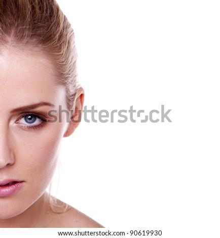 Half a head shot of a beautiful blond woman. Beautiful blond woman.