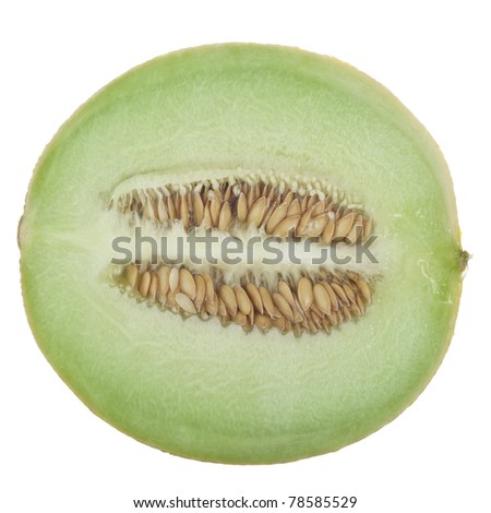 Half a honeydew melon on a white background.