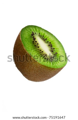 Half a kiwi fruit isolated over white background. With clipping path