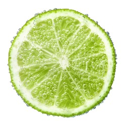 half a lime green in bubbles, isolated on white