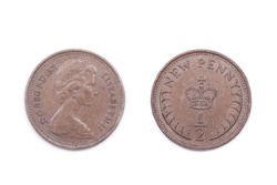 Half a new penny - the smallest sterling currency denomination after decimalization in Britain. It has long since been discontinued.