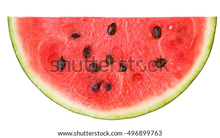 half a slice of delicious ripe watermelon on a white background, isolated